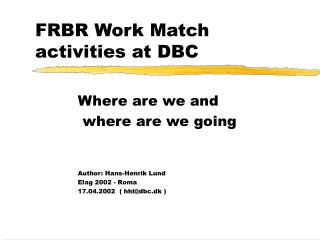 FRBR Work Match activities at DBC