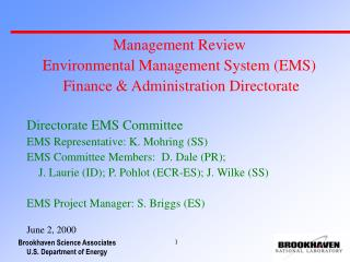Management Review Environmental Management System (EMS)  Finance & Administration Directorate