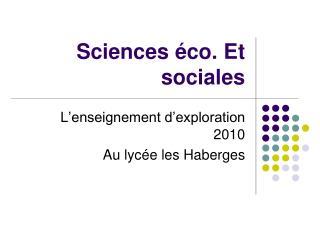 Sciences éco. Et sociales
