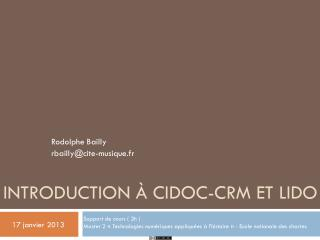 Introduction à CIDOC-CRM et LIDO