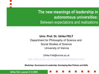 The new meanings of leadership in  autonomous universities: Between expectations and realisations
