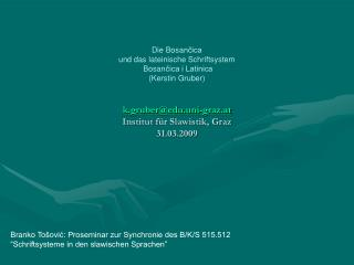 Branko  Tošović: Proseminar zur Synchronie des B/K/S 515.512