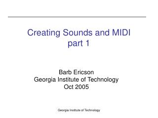 Creating Sounds and MIDI part 1