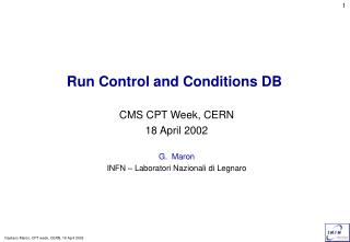 Run Control and Conditions DB