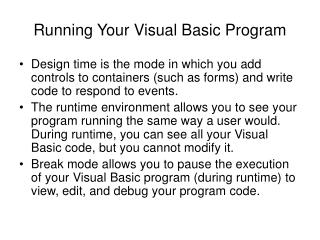 Running Your Visual Basic Program
