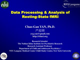 Data Processing & Analysis of  Resting-State fMRI