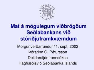 Mat á mögulegum viðbrögðum Seðlabankans við stóriðjuframkvæmdum
