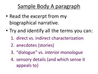 Sample Body A paragraph