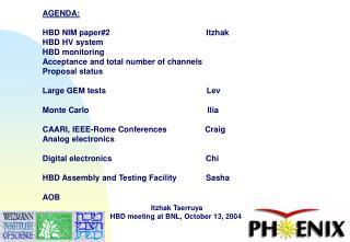 AGENDA: HBD NIM paper#2                                           Itzhak   HBD HV system