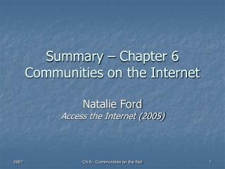 Summary – Chapter 6 Communities on the Internet