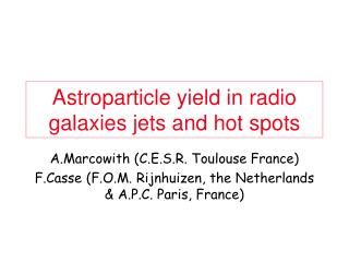 Astroparticle yield in radio galaxies jets and hot spots