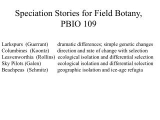 Speciation Stories for Field Botany, PBIO 109