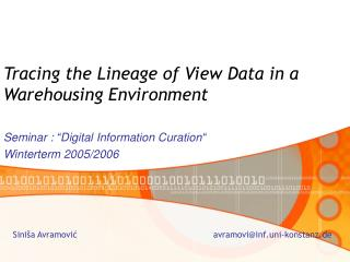 Tracing the Lineage of View Data in a Warehousing Environment