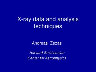 X-ray data and analysis techniques