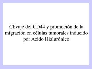 Clivaje del CD44 y promoción de la migración en células tumorales inducido por Acido Hialurónico