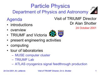 Particle Physics Department of Physics and Astronomy