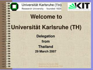 Welcome to  Universität Karlsruhe (TH)