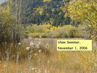 Ulam Seminar, November 1, 2006