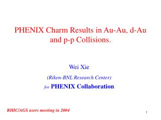 PHENIX Charm Results in Au-Au, d-Au and p-p Collisions.