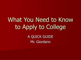 What You Need to Know to Apply to College
