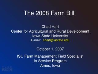 The 2008 Farm Bill