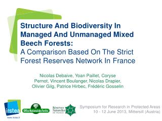 Symposium for Research in Protected Areas 10 - 12 June 2013,  Mittersill  (Austria)