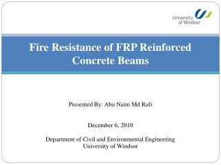 Fire Resistance of FRP Reinforced Concrete Beams
