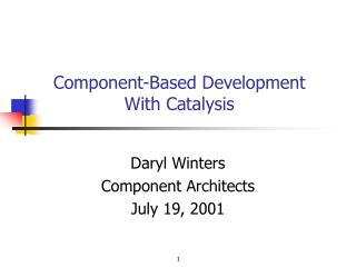 Component-Based Development With Catalysis