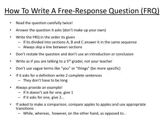How To Write A Free-Response Question (FRQ)