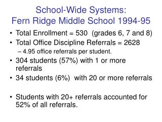 School-Wide Systems:  Fern Ridge Middle School 1994-95