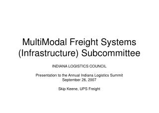 MultiModal Freight Systems Infrastructure Subcommittee