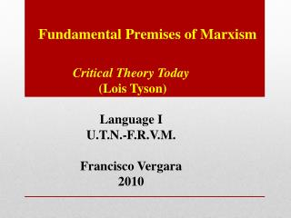 Fundamental Premises of  Marxism