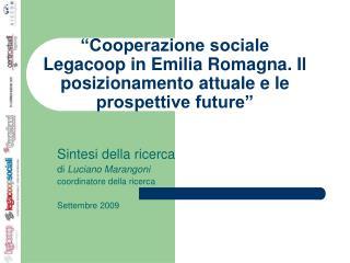Sintesi della ricerca di  Luciano Marangoni coordinatore della ricerca Settembre 2009