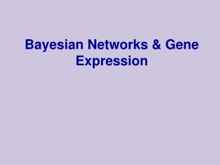 Bayesian Networks & Gene Expression
