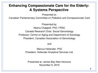 Enhancing Compassionate Care for the Elderly: A Systems Perspective