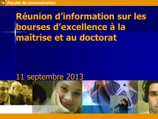 Réunion d'information sur les bourses d'excellence à la maîtrise et au doctorat