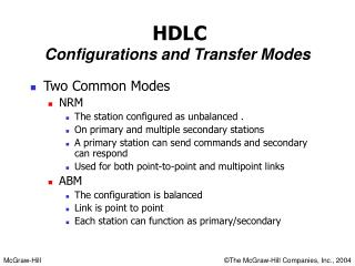 HDLC Configurations and Transfer Modes