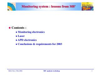 Monitoring system : lessons from M0'