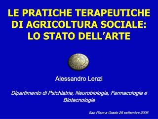 Alessandro Lenzi Dipartimento di Psichiatria, Neurobiologia, Farmacologia e Biotecnologie