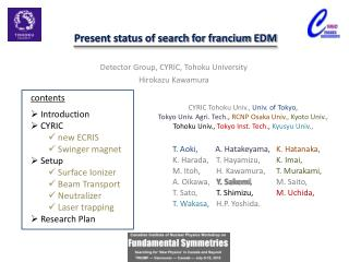 Present status of search for francium EDM