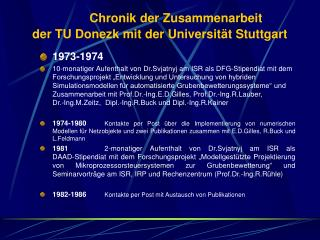 Chronik der Zusammenarbeit  der TU Donezk mit der Universität Stuttgart