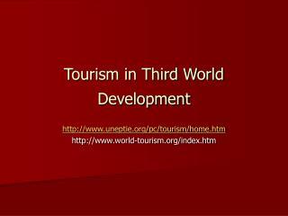 Tourism in Third World Development