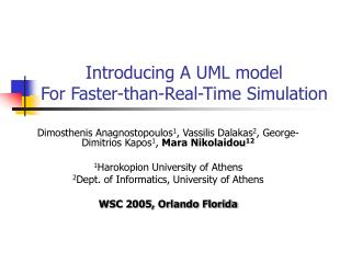 Introducing  Α  UML model  For Faster-than-Real-Time Simulation