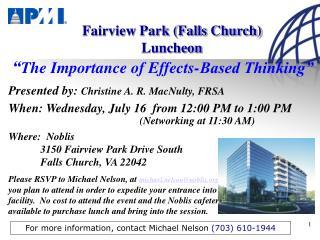 Fairview Park (Falls Church) Luncheon