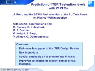 Prediction of ITER T retention levels with W PFCs