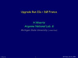 Upgrade Run IIa + DØ France