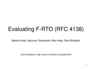 Evaluating F-RTO (RFC 4138)