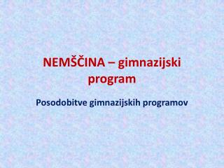 NEM�?INA � gimnazijski program