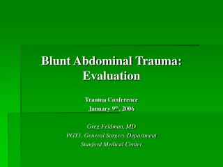 Blunt Abdominal Trauma: Evaluation