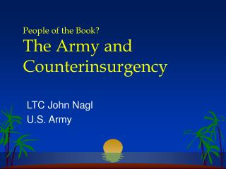 People of the Book The Army and Counterinsurgency